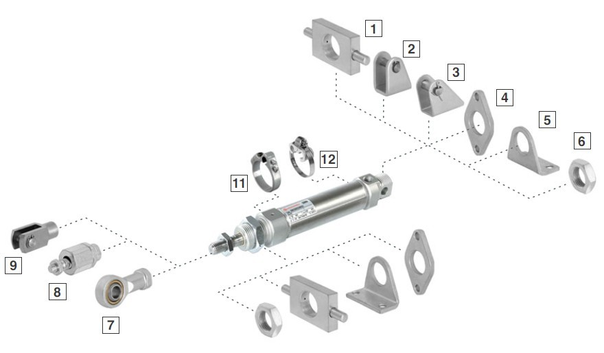 mini cylinder mounting accessories