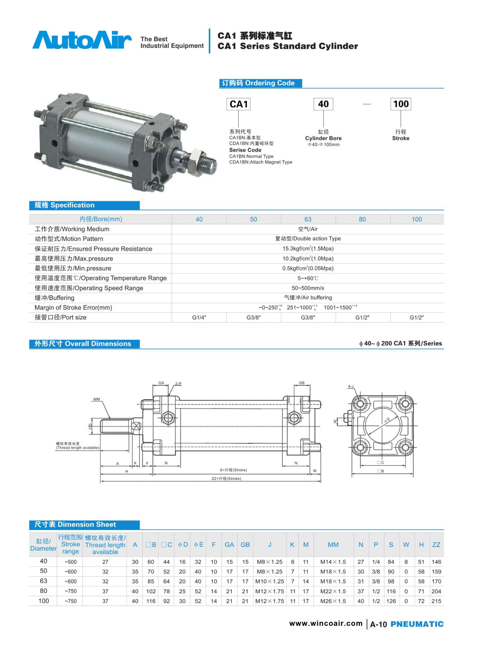 pneumatic cylinder(10)