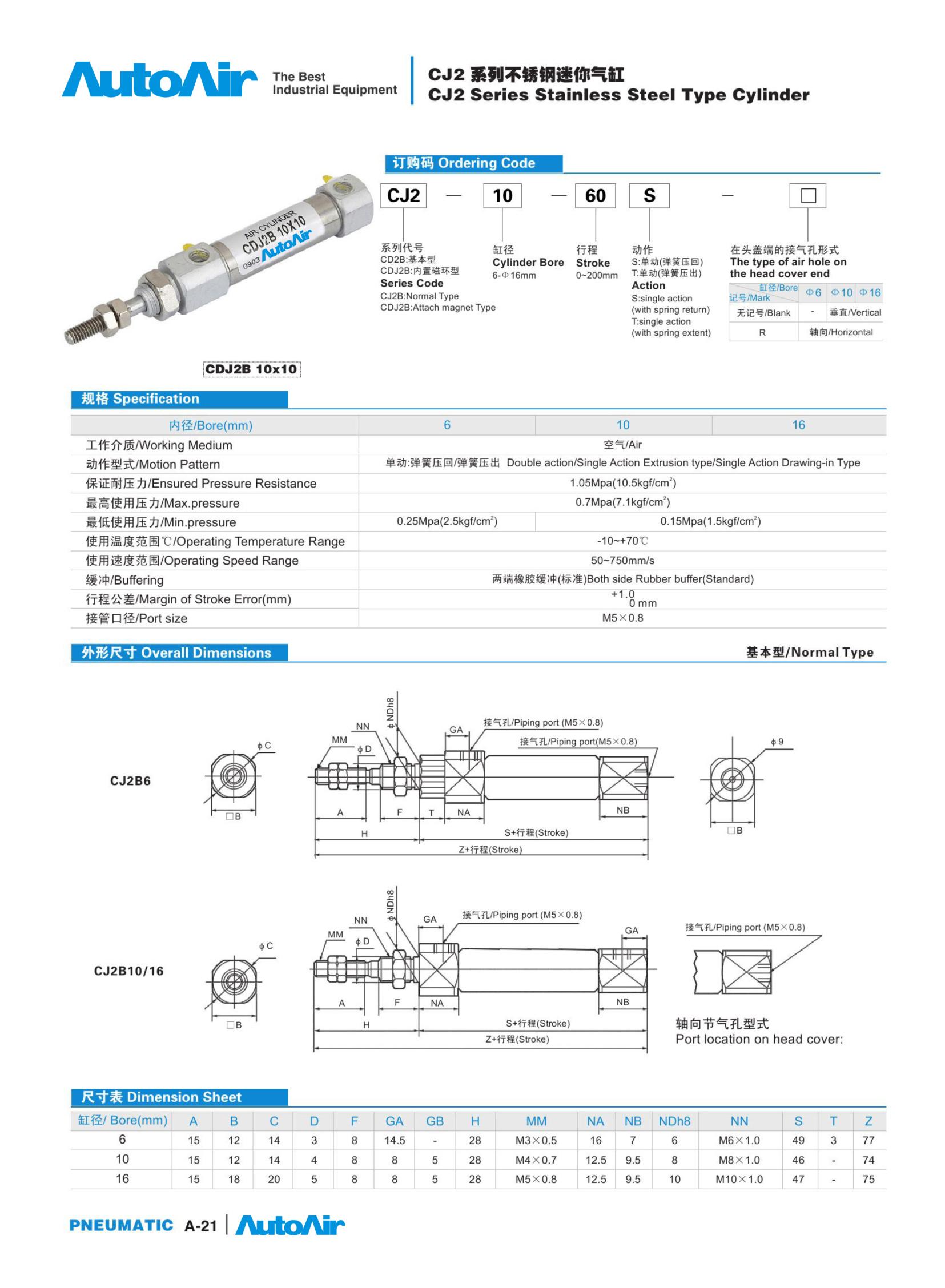 pneumatic cylinder(21)